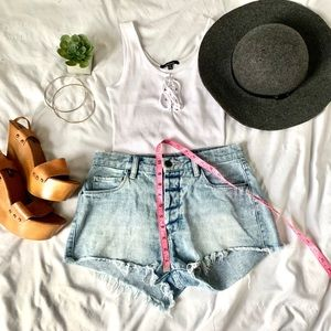 High waisted denim shorts hidden buttonfly